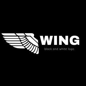 Wing , black and white modern iconic logo
