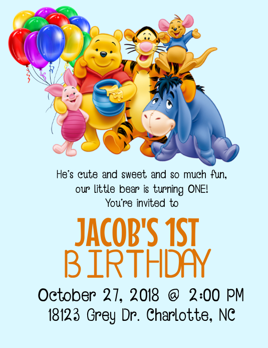 Winnie The Pooh Birthday Invitation Customize Template