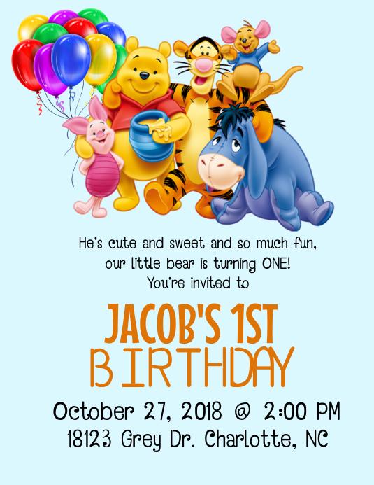 Winnie the Pooh Birthday Invitation