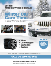 Winter Auto Service Repair Flyer Poster Template