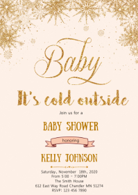 Winter baby shower invitation