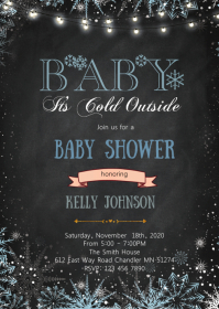 Winter baby shower invitation A6 template