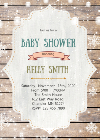 Winter baby shower party invitation
