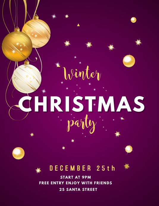 WINTER CHRISTMAS PARTY FLYER INVITATION