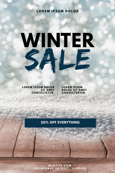 Winter Christmas Sale Flyer Design Template
