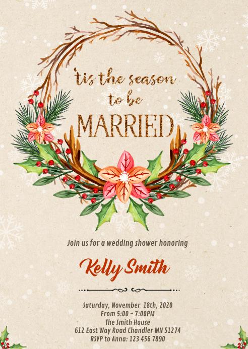 Winter christmas Wedding invitation A6 template