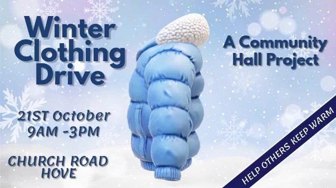 Winter Clothing Drive Video Template Tampilan Digital (16:9)
