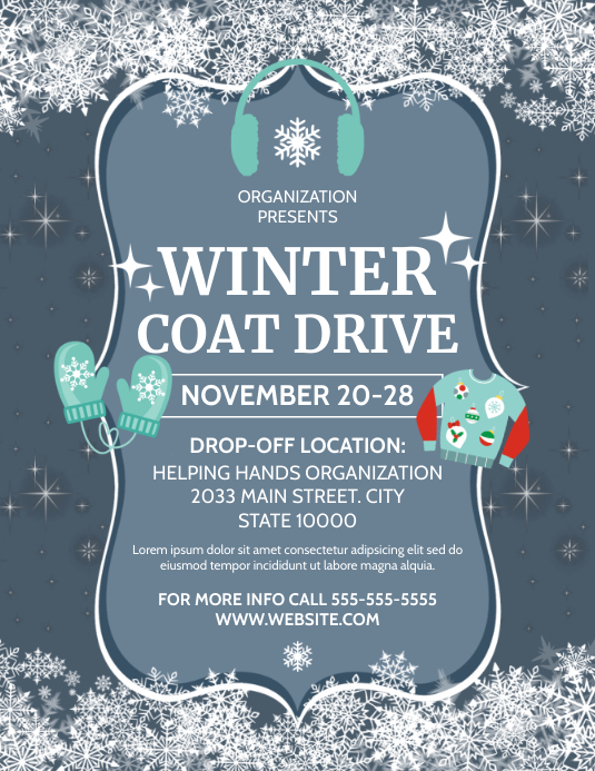 WINTER COAT DRIVE Volante (Carta US) template