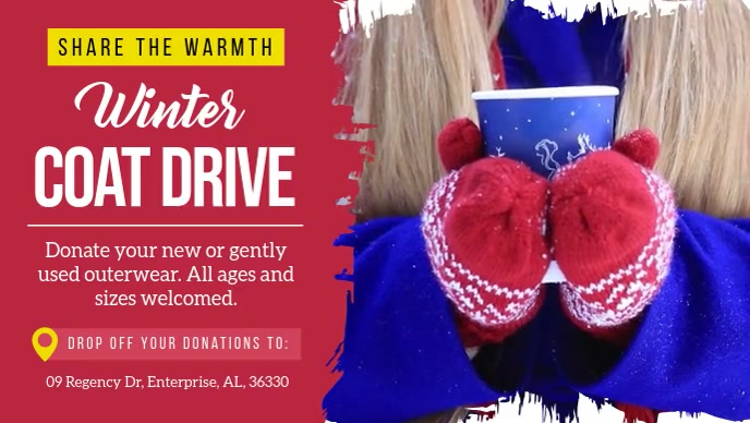 Winter Coat Drive Facebook Cover Video template