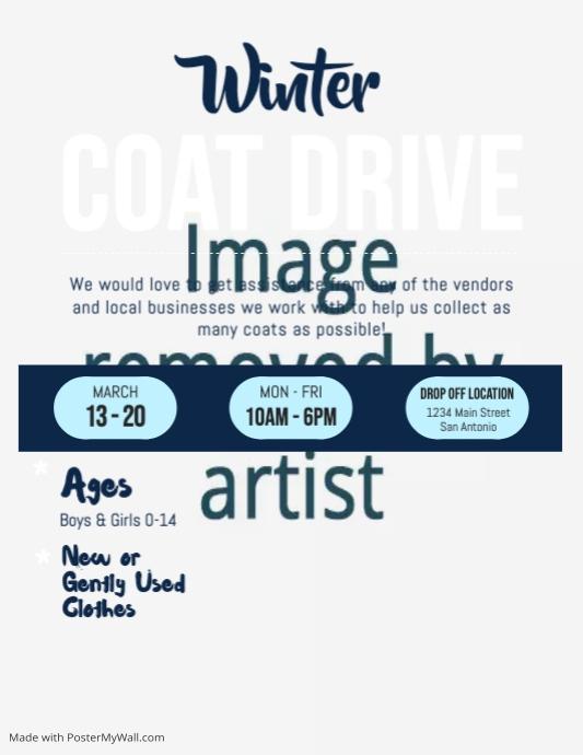 Winter Coat Drive Fundraising Flyer Pamflet (Letter AS) template