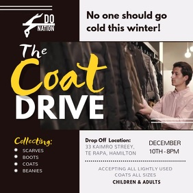 Winter Coat Drive Fundraising Square Video template