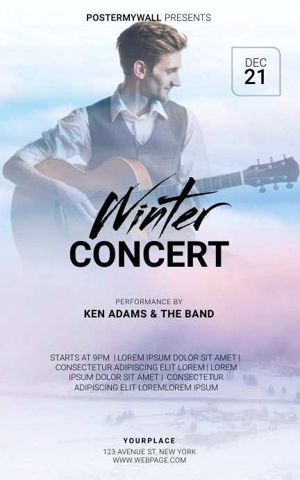 Winter Concert Flyer Template Cover ng Libro
