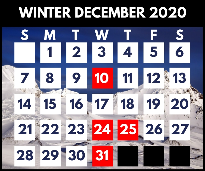 Winter December Calendar Printable Template Persegi Panjang Sedang