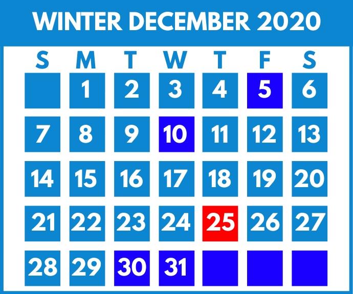 Winter December Calendar Printable Template Persegi Panjang Sedang