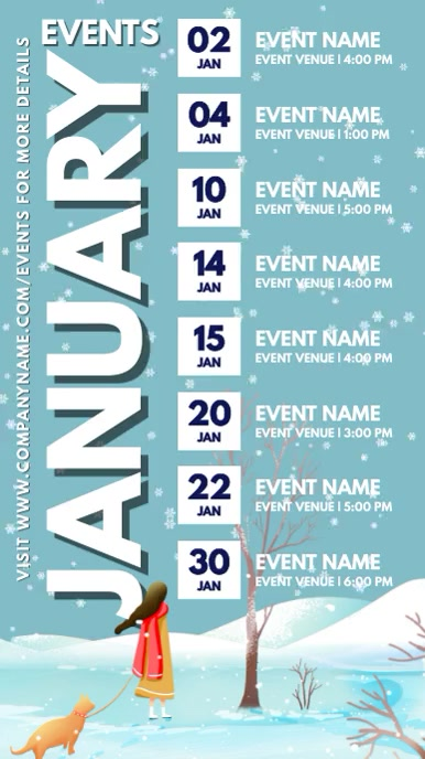 Winter Events Schedule Calendar Template