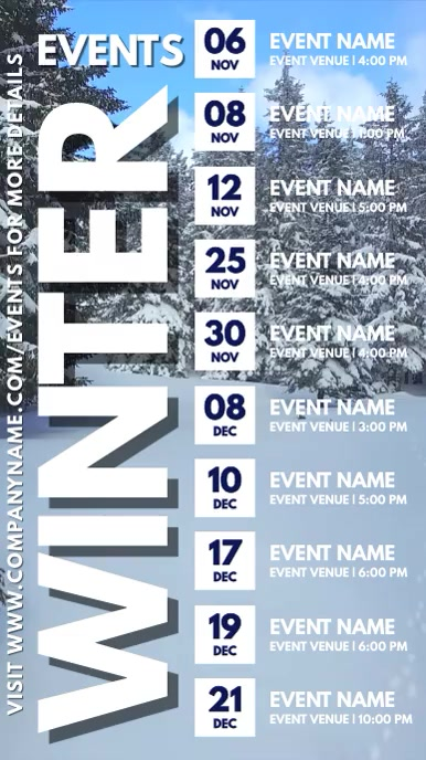Winter Events Schedule Digital Template