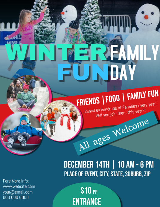 Winter Family Fun Day Flyer Template Ulotka (US Letter)