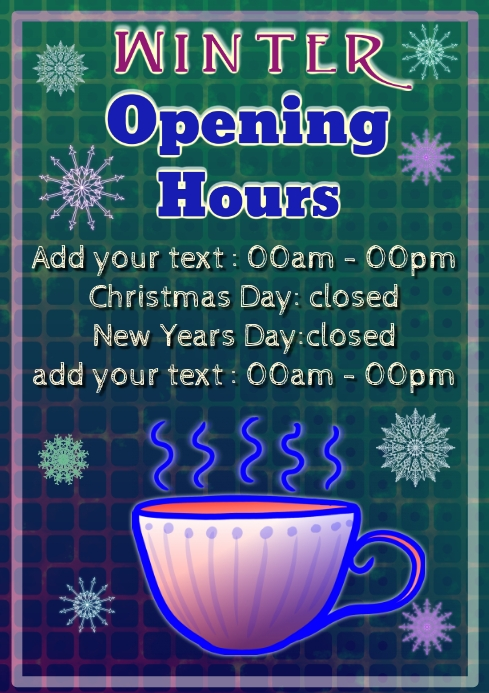 winter holiday cafe opening and closed hours