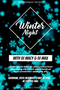 Winter night event flyer template