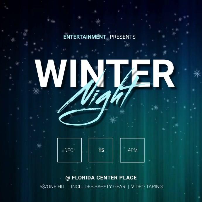 Winter night video ad template Square (1:1)