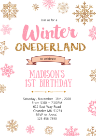 Winter onderland birthday party invitation