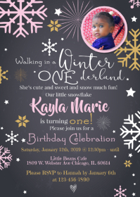 Winter Onederland 1st Birthday Invite A6 template