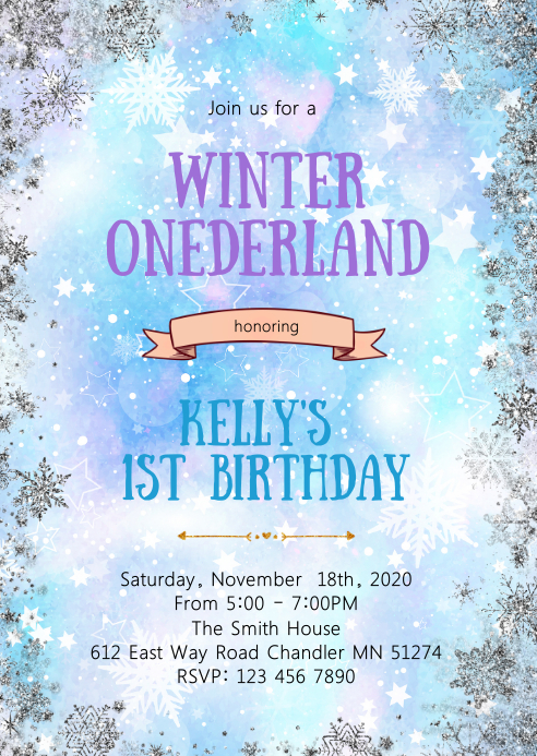 Winter Onederland Birthday Invitation Template Postermywall