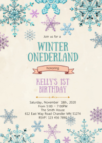 Winter onederland snowflake invitation