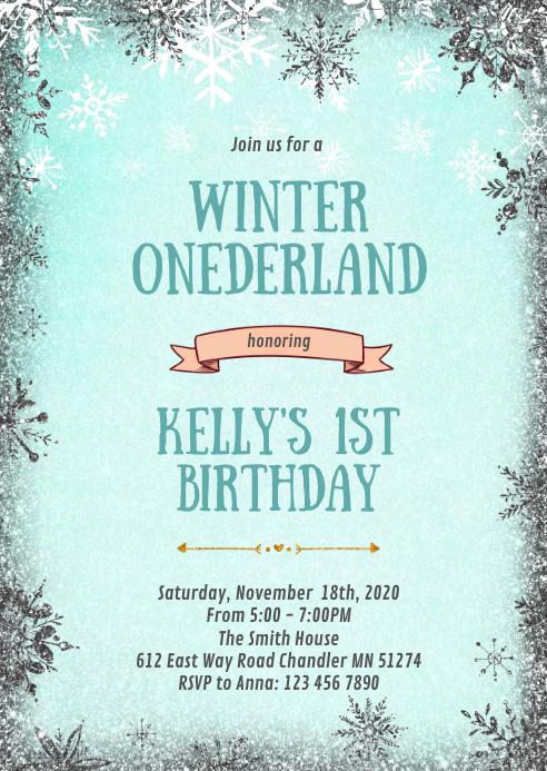 Winter onederland snowflake invitation