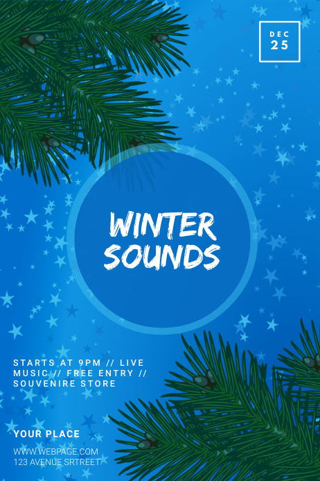 Winter Party Flyer Template Poster