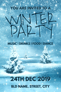 Winter party invitation Poster template
