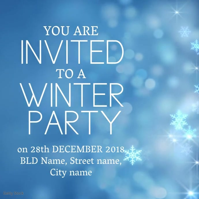winter party invitation template postermywall. Black Bedroom Furniture Sets. Home Design Ideas