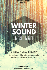 Winter Party night flyer template
