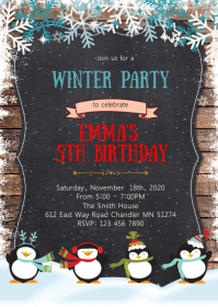 Winter penguin birthday invitation