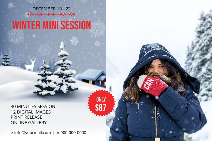 Winter Photography Mini Session Label template