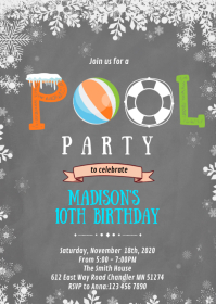 Winter pool birthday party invitation