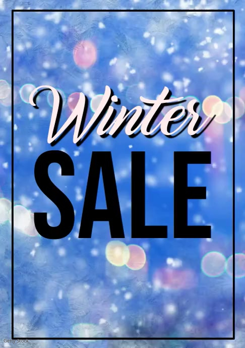 Winter Sale Advert Snow Window Shine Glitter Poster A4 Video