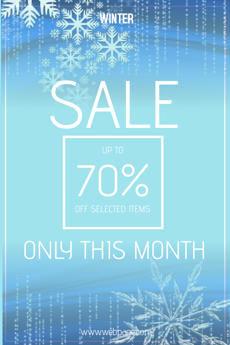 winter sale blue poster template