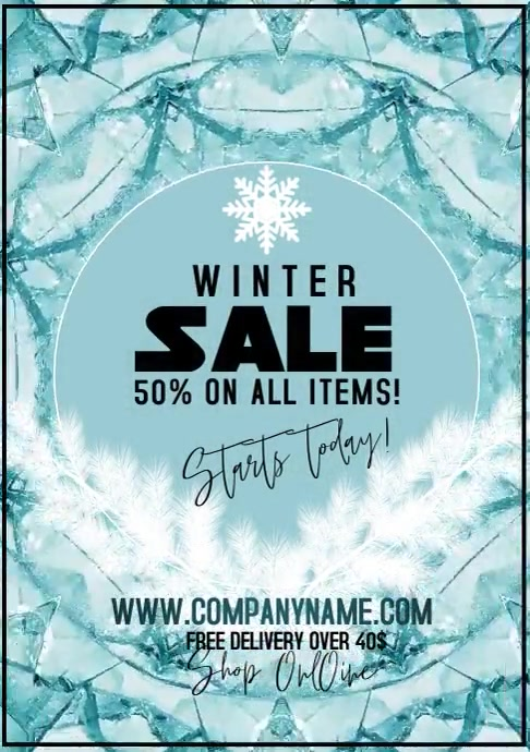 winter sale template offer A4