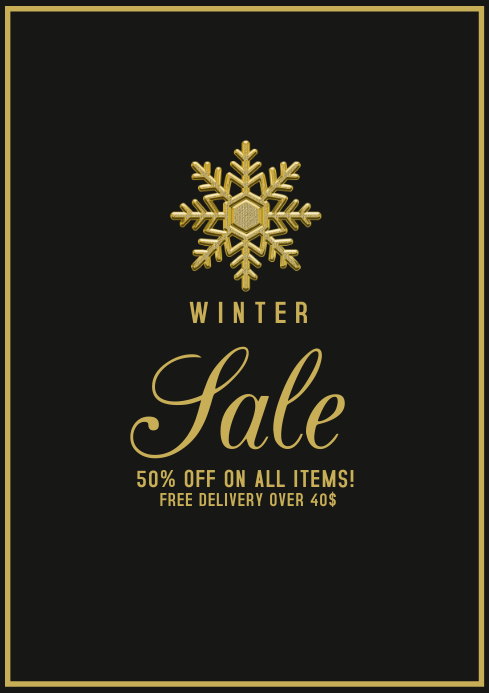 winter sale template offer A4