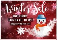 winter sale template offer snowman A4