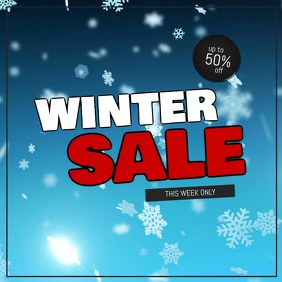 Winter sale video snow flakes square selling advert promo