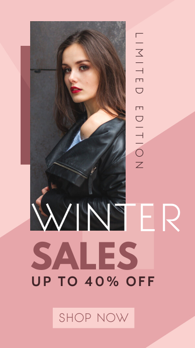 winter sales up to 40% off limited edition te Instagram na Kuwento template