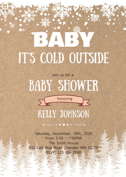 Winter shower theme invitation A6 template