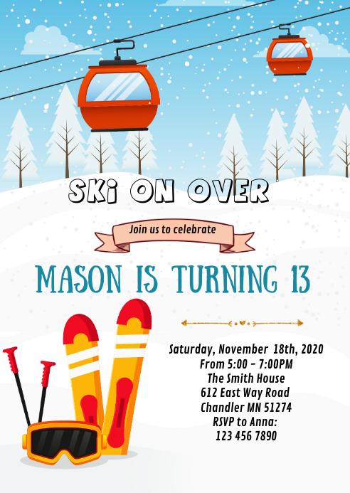 Winter ski birthday party invitation