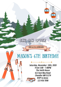 Winter ski birthday party invitation