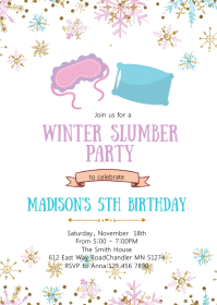 Winter sleepover birthday party invitation