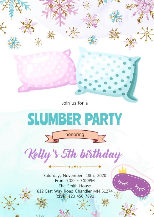 Winter slumber party invitation A6 template