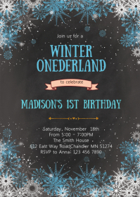 Winter snowflake birthday invitation