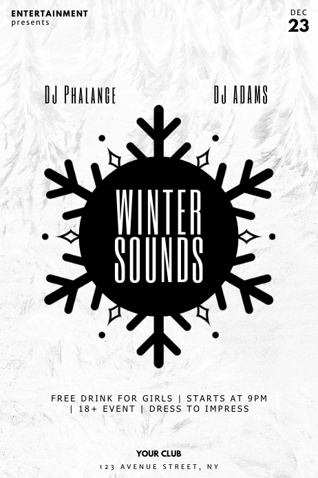 Winter Sounds Party Flyer Template